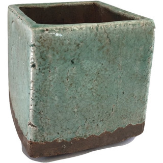 Green Rustic Square Earthenware Vase