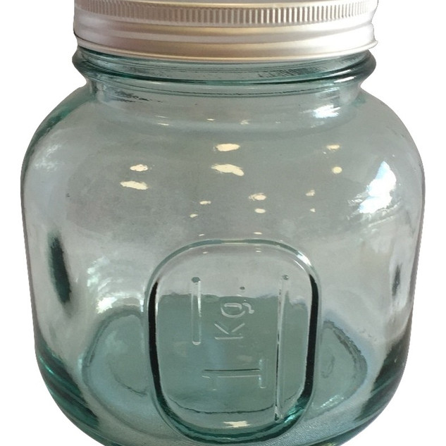 Bottle Green 1Kg Glass Candy Jar with Metal Lid