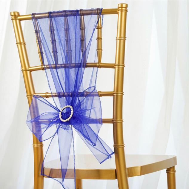 Organza Chair Sash Royal Blue