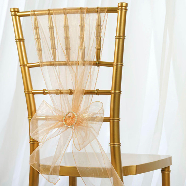 Organza Chair Sash Peach