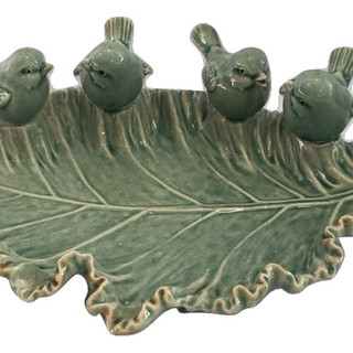 Green Ceramic Chickadee Tray