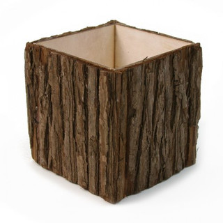 Natural Wood Bark Cube Vase