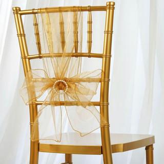 Organza Chair Sash Gold