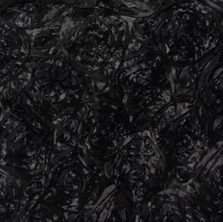 """72"""" Grandiose 3D Rosette Satin Overlay Black"""