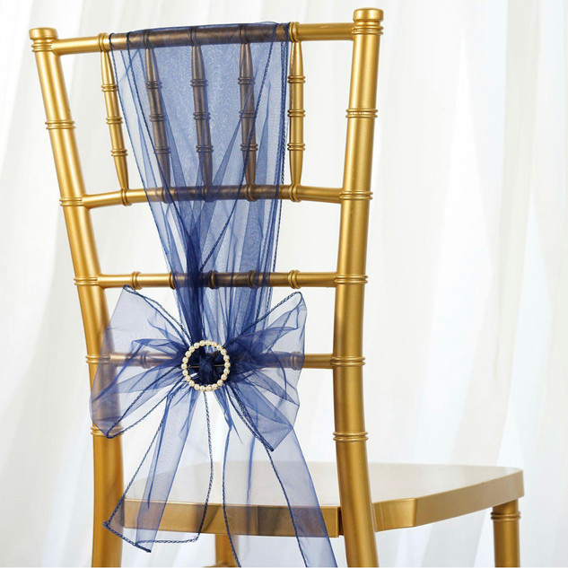 Organza Chair Sash Navy