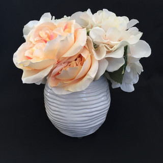 Peach, Green, Ivory Floral in White Vase