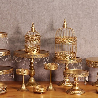 12-Piece Cake Stand Set Vintage Gold