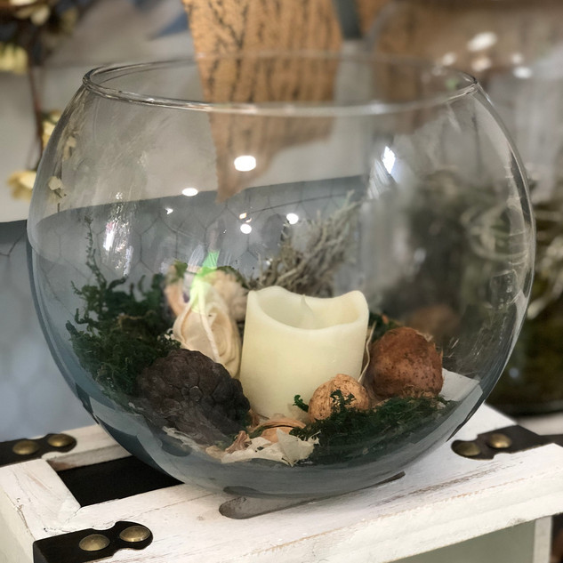 Moss Fishbowl Accent Piece with LED Votive