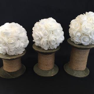 Wooden Spools & White Flower Balls Set of 3