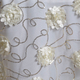 """72"""" Fiores & Sequins & Lace Overlay Ivory"""