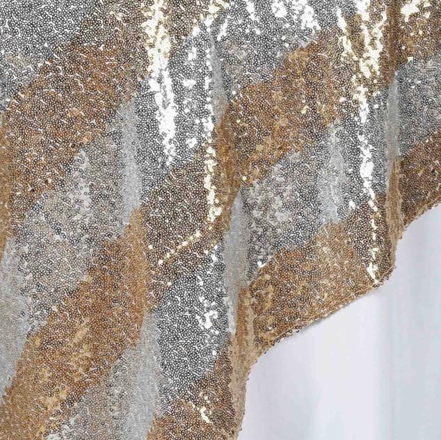 """72"""" Premium Stripe Sequin Square Overlay Silver & Gold"""