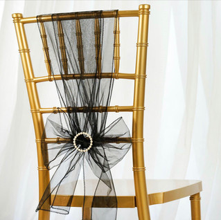 Organza Chair Sash Black