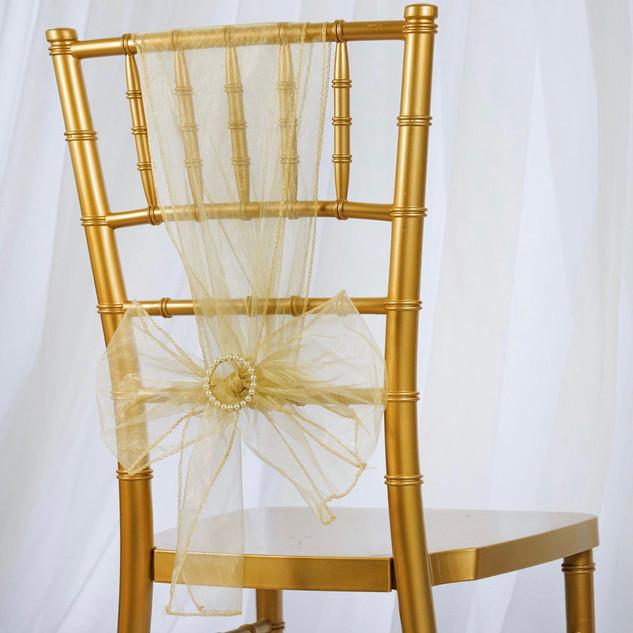 Organza Chair Sash Champagne