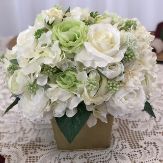 Green & White Floral Centerpiece in Gold