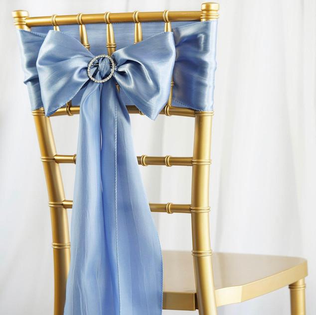 Satin Chair Sash Serenity Blue