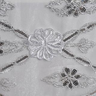 "72"" Extravagant Fashionista Lace Netting White & Silver"