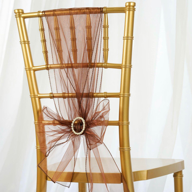 Organza Chair Sash Chocolate