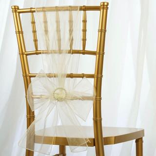 Organza Chair Sash Ivory