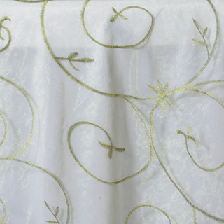 Organza Embroidered Runner Willow Green
