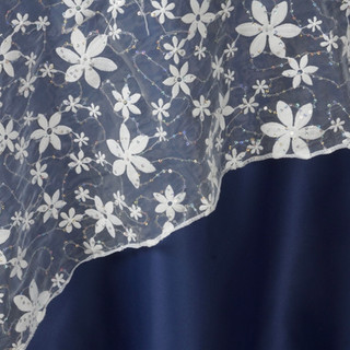 "72"" Sheer Embroidered Organza with Sequin White"