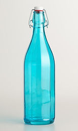 Teal Glass Stoppered Wine Bottle