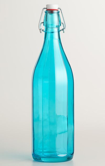 Teal Glass Stoppered Wine Bottle Turquoise
