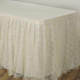 Polyester Lace Table Skirt Ivory 17'