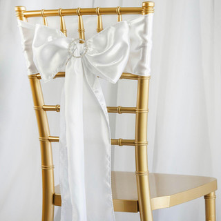 Satin Chair Sash White