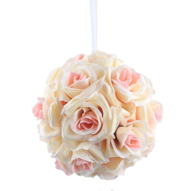 Rose Flower Kissing Ball Champagne