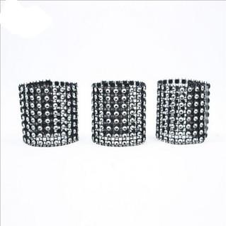 Napkin & Bow Rhinestone Embellishment Black & Silver