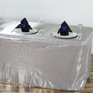 Glitzy Sequin Table Skirt Silver 17'