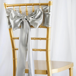Satin Chair Sash Silver