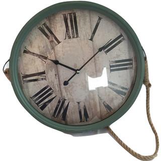 """Rustic Green Clock with Jute Hanger 18"""""""