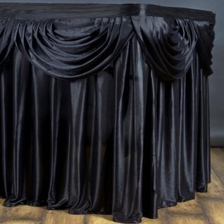 Double Drape Table Skirt Black 17'