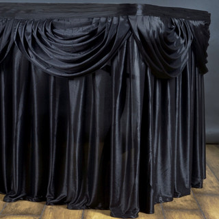 Double Drape Table Skirt Black 17'