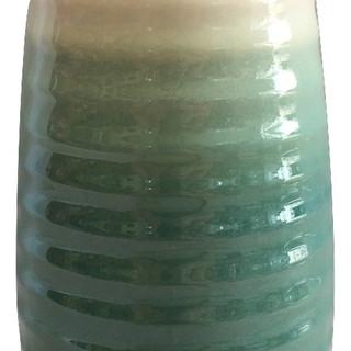 Green & Ivory Ribbed Earthenware Vase