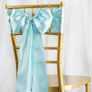Satin Chair Sash Light Blue