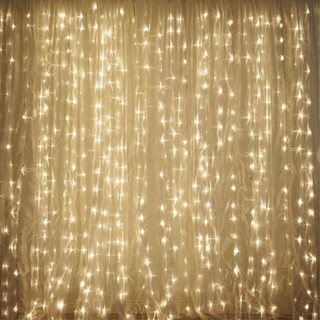 20x10 600 LED Organza Curtain Backdrop with Lights Warm White