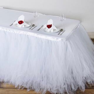 Tantalizing 8 Layer Tulle Table Skirt White
