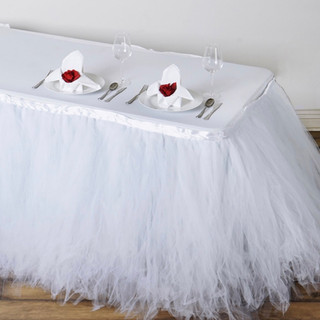 Tantalizing 8 Layer Tulle Table Skirt White
