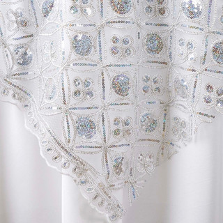 "85"" Designer Sequin Overlay Silver"