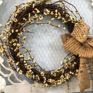 Rustic Wreath with Burlap Bow