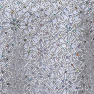 """85"""" Sequin Studded Chemical Lace Overlay Silver"""