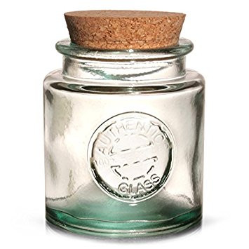 Bottle Green Glass Candy Jar with Cork Lid