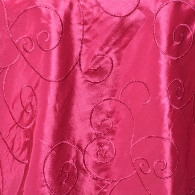 "72"" Taffeta Swirls Embroidered Overlay Fuchsia"