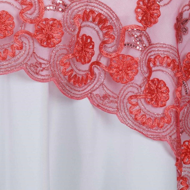 """72"""" Fashionista Lace Netting Overlay Coral"""
