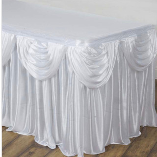 Double Drape Table Skirt White 17'