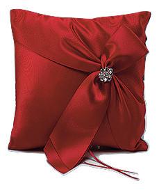Red Satin Ring Bearer Pillow