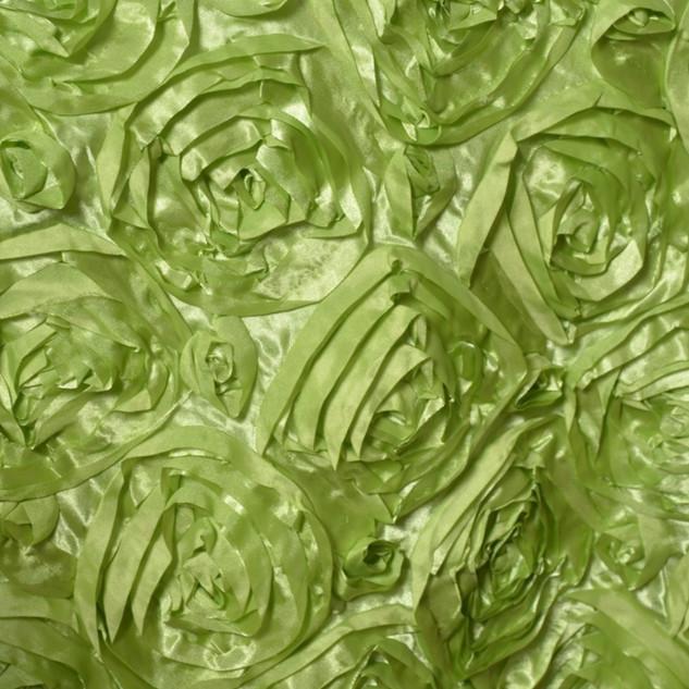 """72"""" Grandiose 3D Rosette Satin Overlay Apple Green"""