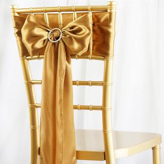Satin Chair Sash Gold
